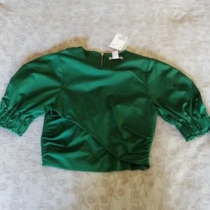 Green crop top, full back zip